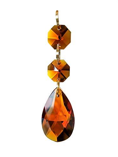 38mm Teardrop Pendants Chandelier Crystal Prisms Pendants Glass Pendants Beads, Pack of 10 (Dark Amber) (Crystal Amber Clear)