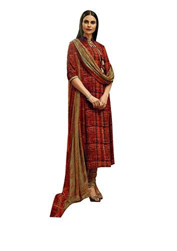 Ladyline Rayon Printed Salwar Kameez Womens Indian Dress (Size_50/ Rust)