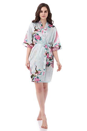 - gusuqing Women's Printing Peacock Kimono Robe Short Sleeve Silk Bridal Robe Light Blue S