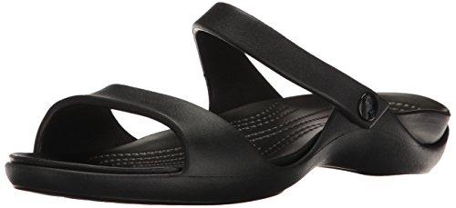 - crocs Women's Cleo V Flat Sandal, Black/Black, 8 M US