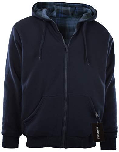 - Mens Full Zipper Fleece Basic Hoodie with Lining to Choose from (L, 91033-NAVY)