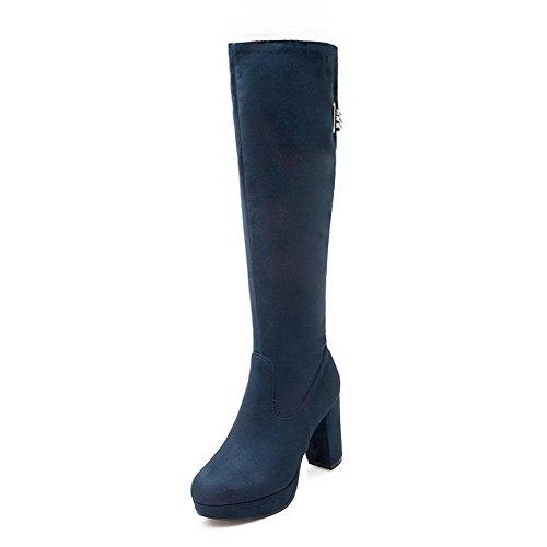 VogueZone009 Damen Hoher Absatz Mattglasbirne Knie Hohe Reißverschluss Stiefel, Blau, 37