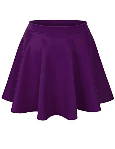 KOGMO Womens Basic Solid Versatile Stretchy Flared Casual Mini Skater Skirt-S-Purple
