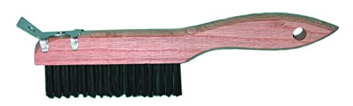 Magnolia Brush 455-4-SC Shoe Handle Carbon Steel Wire Scratch Brush, 10'', 4 x 16 Rows, Wood Handle (Pack of 12)