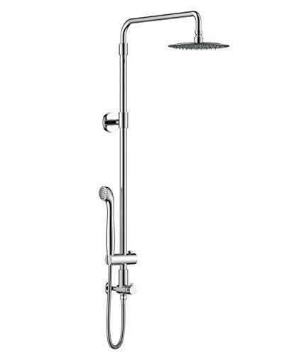 Height Kit Shower (Aurea Retrofit Rain Shower System, Adjustable Height Shower Head 8 inch combo with Handheld Shower and Slide Bar (Polished Chrome))