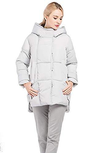 Huixin Casual Manga Outerwear Acolchada Grau Larga Bolsillos xq0nqwWaF