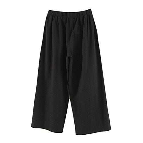 Bureau Noir Leggings Taille Femme Pantalons Lache Jambe Large Couleur Pantalons Casual OL Solide Confortable Pantalon Longueur Cheville Mode Elastique qAZqwRg
