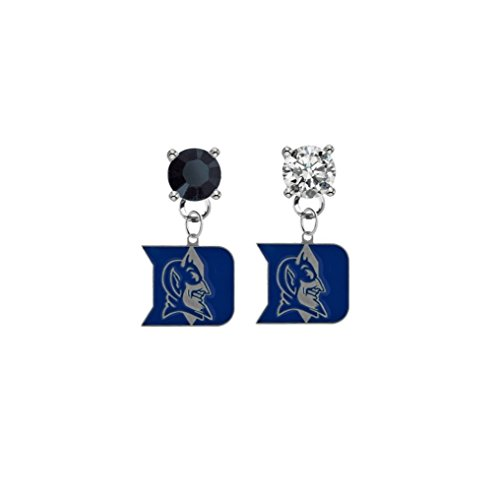Duke Blue Devils Black & Clear Crystal Stud Post Dangle Earrings (Devils Blue Duke Womens Watch)