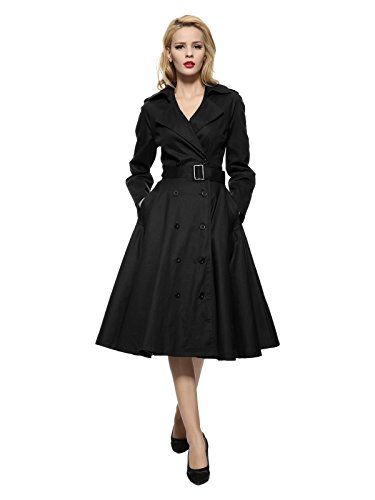 Maggie Tang Vintage Elegant Swing Coat Rockabilly Tunic Party Dress Black M - 50s Coat