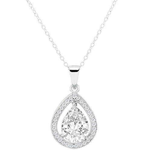 Cate & Chloe Isabel Queen 18k White Gold Plated Halo Teardrop Pendant Necklace - Silver Halo Necklace w/Solitaire Round Cut Cubic Zirconia Diamond Cluster - Wedding Anniversary Jewelry