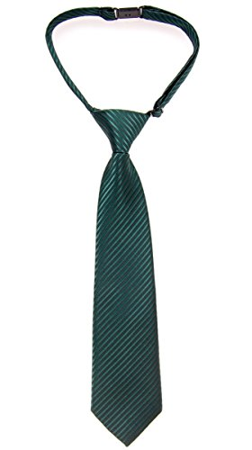 Polyester Ties Green Boys (Retreez Woven Pre-tied Boy's Tie with Stripe Textured - Dark Green - 4 - 7 years)