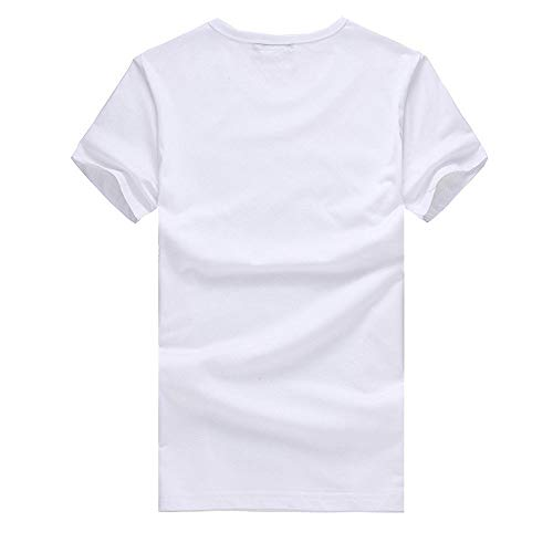 Willsa Mens Shirts, Unisex Solid Color Balloon Printing Tees Shirt Short Sleeve Casual Couples Tops Blouse White by Willsa (Image #2)