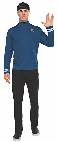 Rubie's Men's Star Trek: Beyond Spock Deluxe Costume Shirt, Blue, Standard (Star Trek Movie Blue Shirt Adult Costume)