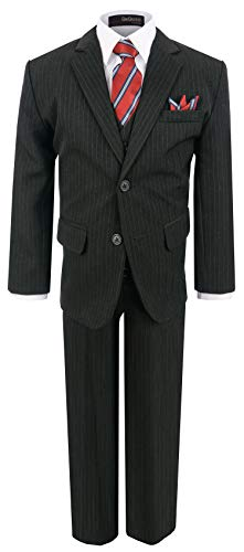 Boy's Formal Pinstripe Dresswear Suit Set #G220 (8, Black)]()