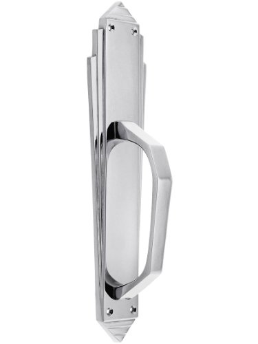 Art Deco Door Pull in Solid, Cast Brass in Polished -