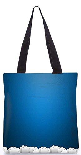 """Snoogg Blauen Und Weißen Wolken Tragetasche 13,5 X 15 In """"Einkaufstasche Dienstprogramm Trage Aus Polyester Leinwand"""
