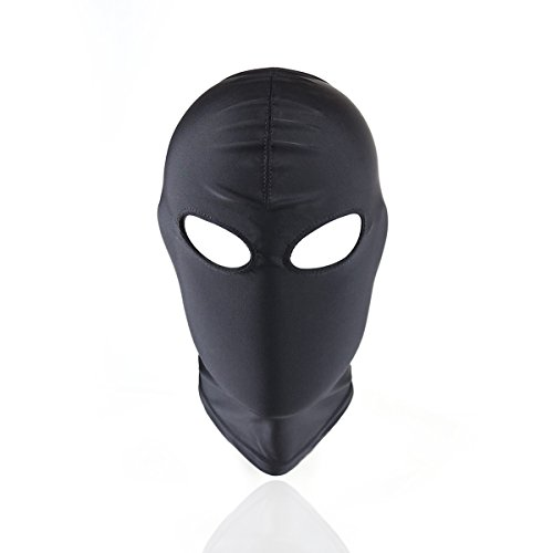 (HOT TIME Black Breathable Face Cover Spandex Zentai Costume Hood Mask(Open)