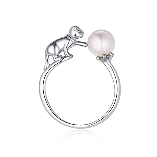 (925 Sterling Silve Ring Cute Cat with Simulated Pearl Open Ring Eternity Ring Wedding Band for Girls Women)