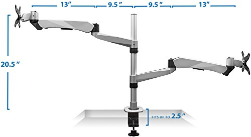 Mount-It! MI-75911 Dual Arm Full Motion Adjustable Height, Articulating, Tilting, Rotating, Desk Table Mount with Vented Laptop and Mouse Mount and Holder Stand for Laptops, Tablets, and Notebooks with LCD, LED, and PC Monitors Mount, Grommet, Silver by Mount-It! (Image #2)