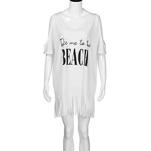 Shoulder Fashion Cover Relaxed Verano V cuello De Off Borlas Mujer Blanco Proteccion Solar Bikini Up Beach Tunicas Túnica Vestidos Retro Corta Elegantes Manga Casuales PdFwIHqvx
