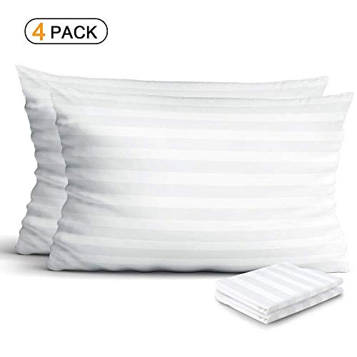 Cotton Sateen Pillow Protector - 4-Pack 100% Egyptian Cotton Pillow Protectors, Zippered Allergy Control Pillowcases, Hypoallergenic Bed Bug & Dust Mite Resistant Anti-Microbial 300 Thread Count Sateen Pillow Covers, Standard