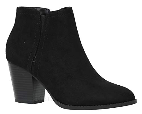 Classified Shoes Women's Low Stacked Heel Closed Toe Casual Western Bootie Piano Black 10
