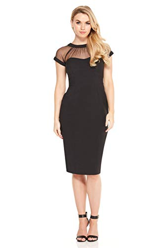 Illusion Cap - Maggy London Women's Illusion Cap-Sleeve Crepe Dress, Black, 6