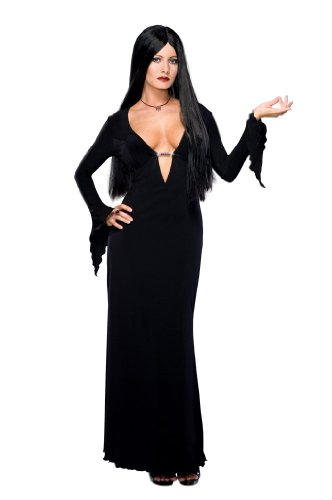 Addams Family Morticia Addams Costume and Wig, Black, X-Small