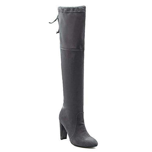 Pull Womens Heel The Heels Boots Toe ABL09787 Solid Chunky BalaMasa Suede High Round Knee Gray Above On tdH4Wqc