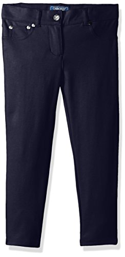 CHEROKEE Little Girls' Uniform French Terry Skinny Pant, Navy, 4