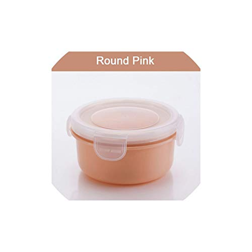 Food storage sets Kitchen Sealed Refrigerator Food Prep Box Fresh Keeping Spices Storage Lunch Container Lunch Box Container,round pink