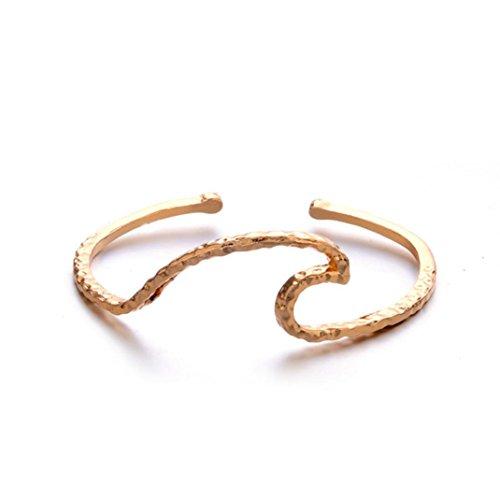 Wave Dangle (Gyoume Women Chain Bracelet Hand Decoration Jewelry Women Waves Punk Cuff Bracelet Bangle Chain Wristband Jewelry (Gold))