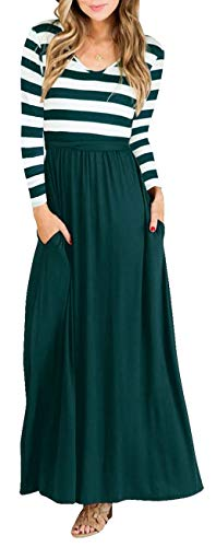 (Green Women Striped Long Sleeve Tunic Vintage Casual Maxi Dress with Pocket)