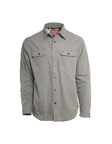 Coleman Fleece Lined Washed Canvas Shirt Jackets for Men (Large, Lead Grey)