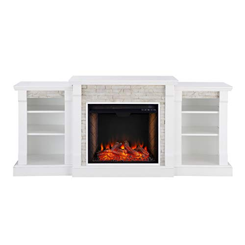 Southern Enterprises Gallatin Alexa-Enabled Smart Bookcase Fireplace, White (White Wood Electric Fireplace)