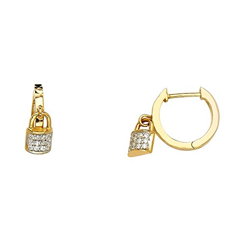 14k Yellow Gold Cubic Zirconia Padlock Charm Hoop Earrings