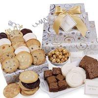 Cookie Gift Basket: Dazzling Deluxe Swirls Gourmet Gift Trio - 33 Pieces