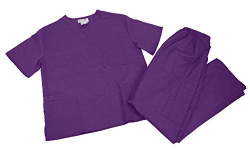 M&M SCRUBS Women Scrub Set Medical Scrub Top and Pants XL Purple