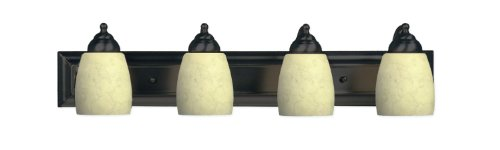Marquis Lighting 1604-4-GB Wall Vanity with Beige Scavo Glass Shades, Golden Bronze