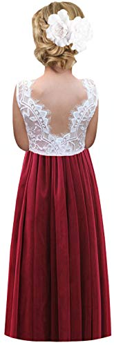 2Bunnies Girl Rose Lace Back A-Line Straight Tutu Tulle Party Flower Girl Dresses (Burgundy Sleeveless Maxi, 7/8)