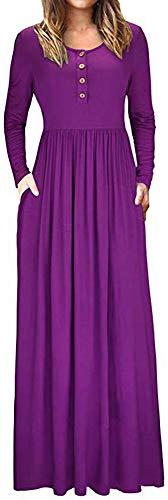 LunaJany Women's Henley Neckline Empire Waist Side Pocket Maxi Dress