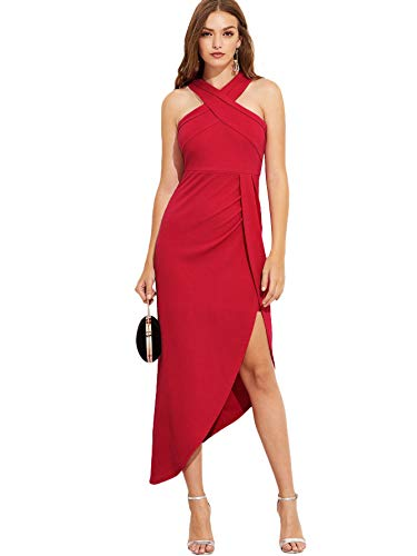 - MAKEMECHIC Women's Sleeveless Split Ruched Halter Party Cocktail Long Dress Red L