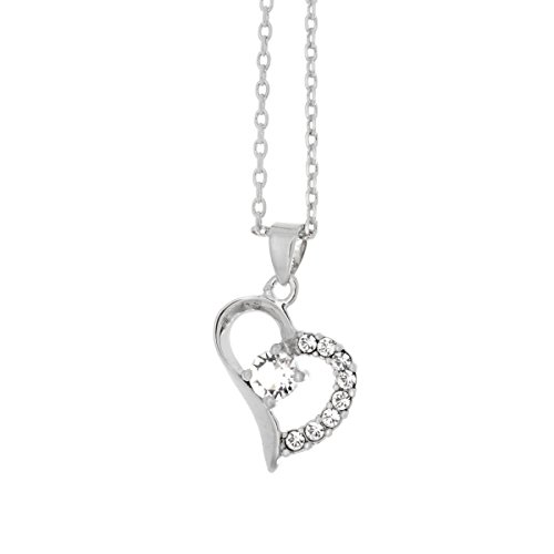 Cate & Chloe Laila 18k White Gold Chain Crystal Pendant Necklace with Swarovski Crystals, Fancy Heart Necklaces, Beautiful Trendy Necklace for Women, Fashion Statement Special Jewelry