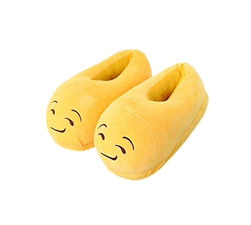 DELEY Unisex de dibujos animados Emoji Zapatillas de Invierno Cálido Expresión de la Felpa de la Casa de los Zapatos Queso Sonrisa