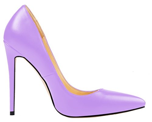 Shoes Women's Solid High Aooar Heel Pu Lilac Pumps Party BxOnSwY
