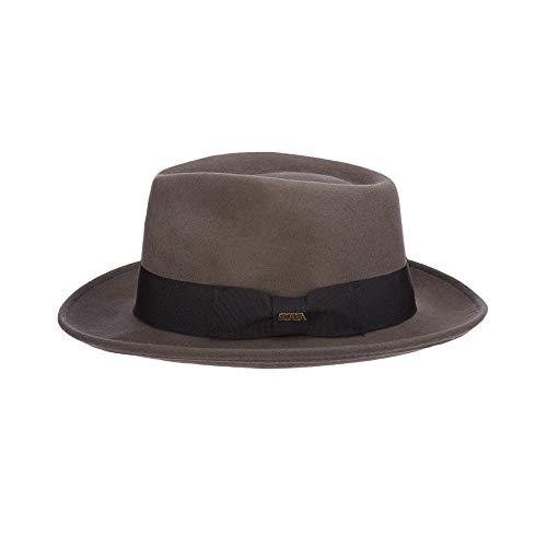(Scala Classico Men's Crushable Water Repelant Wool Felt Fedora Hat, Grey, Medium)