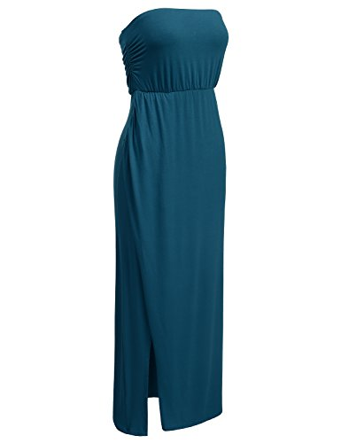 DRESSIS Womens Strapless Side Slit Maxi Tube Dress TEAL XL -