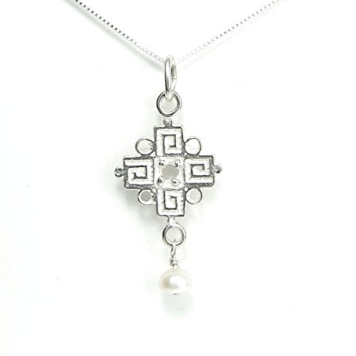 Byzantine Cross Sterling Silver Necklace - Sons and Daughters of God 2 Corinthians 6:18 Story Card included - Made in USA 18