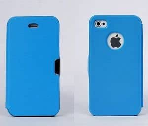 Blue Magnetic Flip Leather Case Hard Cover Pouch Protect For Iphone 4 4S 5 5S N190