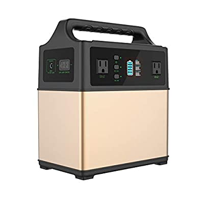 MAXOAK Portable Generator Power Station 400Wh Solar Generator 2AC Outlet 110V/300W Lithium Emergency Battery Backup Quiet Sine Power Storage for Outdoor CPAP Camping Hunting AC/Car/Sun Recharge